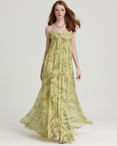 Halston Strapless Gown - Crinkle Chiffon Printed