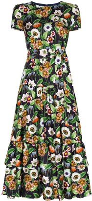 Borgo de Nor Elisa floral-print silk midi dress