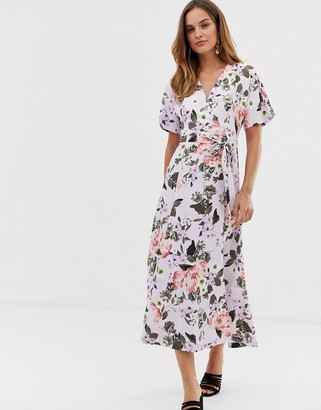 French Connection Armoise floral maxi wrap dress-Purple