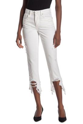 Blank NYC Distressed Frayed Hem Skinny Jeans