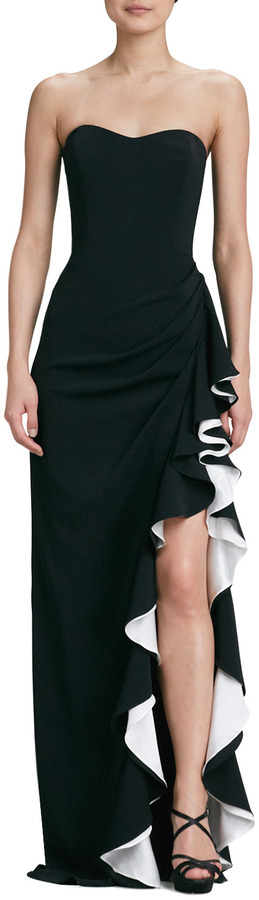 Badgley Mischka Strapless Colorblock Gown