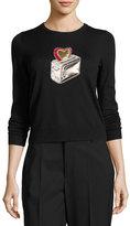 Marc Jacobs Toaster-Embellished Crewneck Sweater, Black