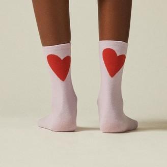 Love & Lore Hearts Crew Sock Lavender