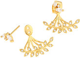 Tai Golden Mixed CZ Crystal Leaf Jacket Earrings