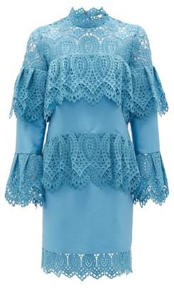 Erdem Lyndell Layered Guipure-lace & Mikado Satin Dress - Blue