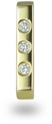 Minimalist 18K Yellow Gold Bar Diamond Unisex Piercing Stud