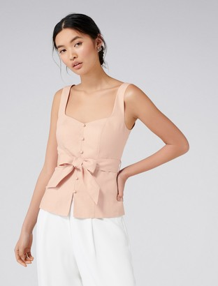 Forever New Sarina Fitted Button Top - Paris Peach - 6