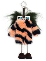 Fendi Women's Faces Hypnoteyes Genuine Fur Bag Charm With Slippers - Grey