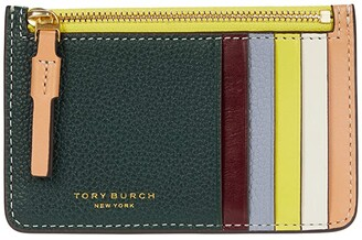 Tory Burch Perry Color-Block Top Zip Card Case (Norwood/Cloud Blue) Credit card Wallet