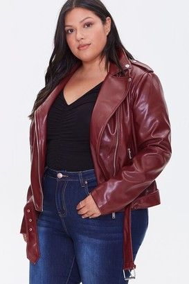 Forever 21 Plus Size Faux Leather Moto Jacket