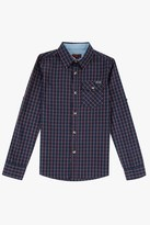 7 For All Mankind Boys S-Xl Roll-Tab-Sleeve Poplin Button-Up Shirt With Chambray In Burnt Sienna Plaid