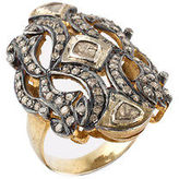 Designer Gold Rhodium Plated Sterling Silver Rose Cut Diamond Ring Size 7.75