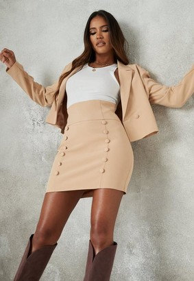 Missguided Beige Co Ord Button Front Mini Skirt