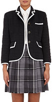 Thom Browne Women's Grosgrain-Tipped Down-Quilted Cashmere Jacket-NAVY, WHITE