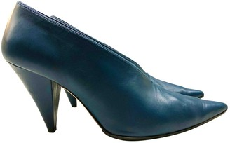 Celine Soft V Neck Blue Leather Heels