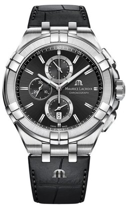 Maurice Lacroix Men's Stainless Steel Swiss Quartz Watch with Leather Strap Black 18 (Model: AI1018-SS001-330-1)