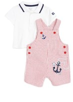 Little Me Infant Boy's Nautical Polo & Stripe Overall Shorts Set