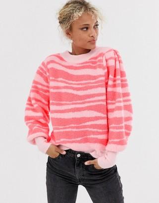 Asos DESIGN tinsel animal sweater with volume sleeve