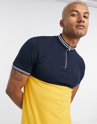 ASOS DESIGN skinny T-shirt with turtle zip neck contrast yoke in yellow