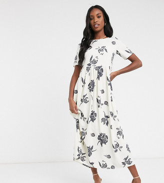 Glamorous Tall maxi smock dress in bold floral print