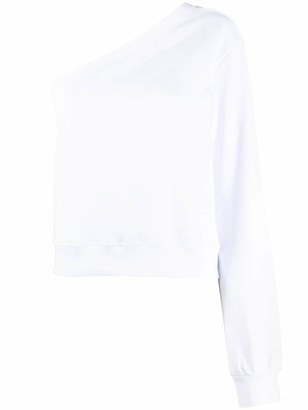 MSGM One-Shoulder Logo Print Sweatshirt