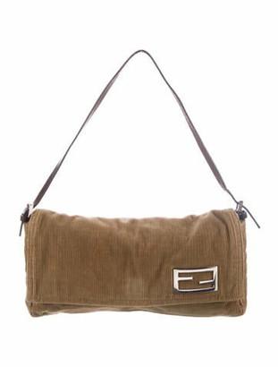 Fendi Leather-Trimmed Corduroy Baguette Brown