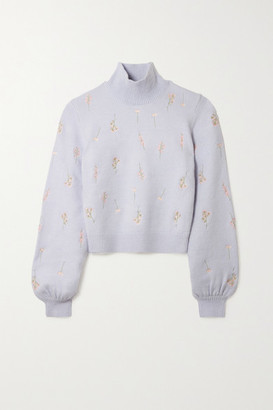 TVF Pumpkin Embroidered Knitted Sweater - Lilac