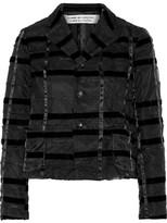 Comme des Garcons Striped Velvet And Organza Jacket - Black