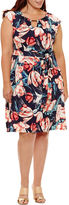 LUXOLOGY Luxology Sleeveless Floral Fit & Flare Dress-Plus