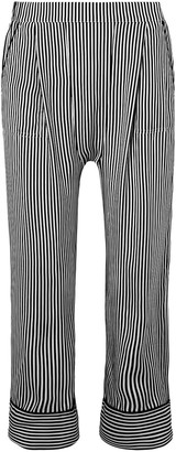 The Great Cropped Striped Silk Crepe De Chine Straight-leg Pants