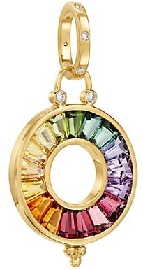 Temple St. Clair Celestial 18K Yellow Gold, Diamond & Multi-Stone Small Color Wheel Pendant