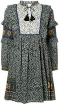 Sea Maya border print ruffle sleeve dress
