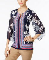 JM Collection Chiffon-Sleeve Keyhole Tunic, Only at Macy's