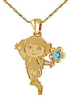 Disney Dora the Explorer Birthstone Sterling 14K CladPendant w/Chain