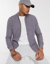 Asos Design DESIGN slim fit check shirt with grandad collar in dusty blue