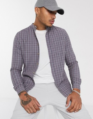 Asos DESIGN slim fit check shirt with grandad collar in dusty blue