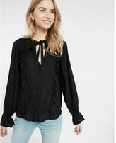 Express Solid Tie-neck Ruffle Shirt