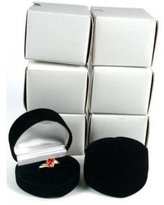 FindingKing 6 Black Flocked Heart Ring Gift Jewelry Display Boxes
