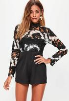 Missguided Lace Top Long Sleeve Playsuit