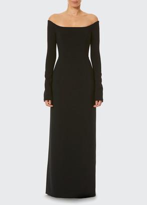 Carolina Herrera Off-Shoulder Long-Sleeve Gown