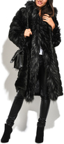 Everest Black Quilted Hooded Faux-Fur Long Coat - Plus Too
