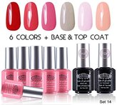 """Perfect Summer Gel Nail Polish UV/LED Soak Off, """"Spring Garden"""" Pure Colors Set with Clear Base Coat and Top Coat - Pack of 8, 8ml Each (Starter Kit #14)"""
