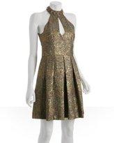 gold floral brocade '24 Karat' keyhole dress
