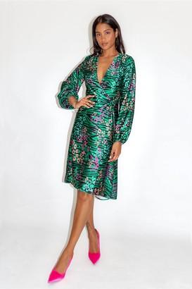 Liquorish Leopard and Zebra Print Midi Dress in Green Base