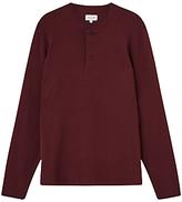 Jigsaw Jersey Cotton Henley Top, Crimson
