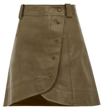 Ganni Wraparound Buttoned Leather Mini Skirt - Khaki