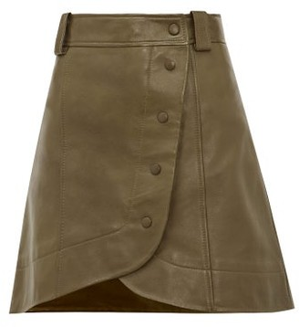 Ganni Wraparound Buttoned Leather Mini Skirt - Womens - Khaki
