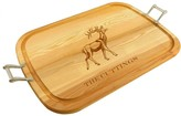 The Well Appointed House Personalized Large Wooden Handled Cutting Board with Stag Design