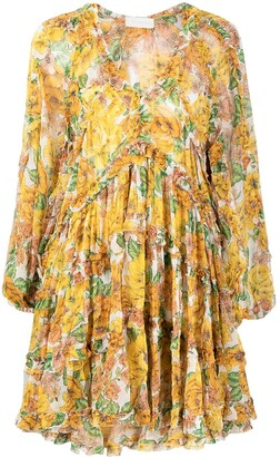 Zimmermann All-Over Floral Print Flared Silk Dress