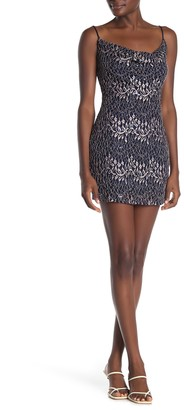 Jump Vine Sequin Lace Cowl Mini Dress